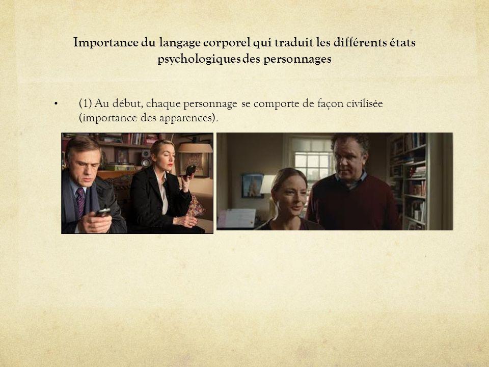 Importance du langage corporel qui traduit les différents états psychologiques des personnages (1) Au début, chaque personnage se comporte de façon ci