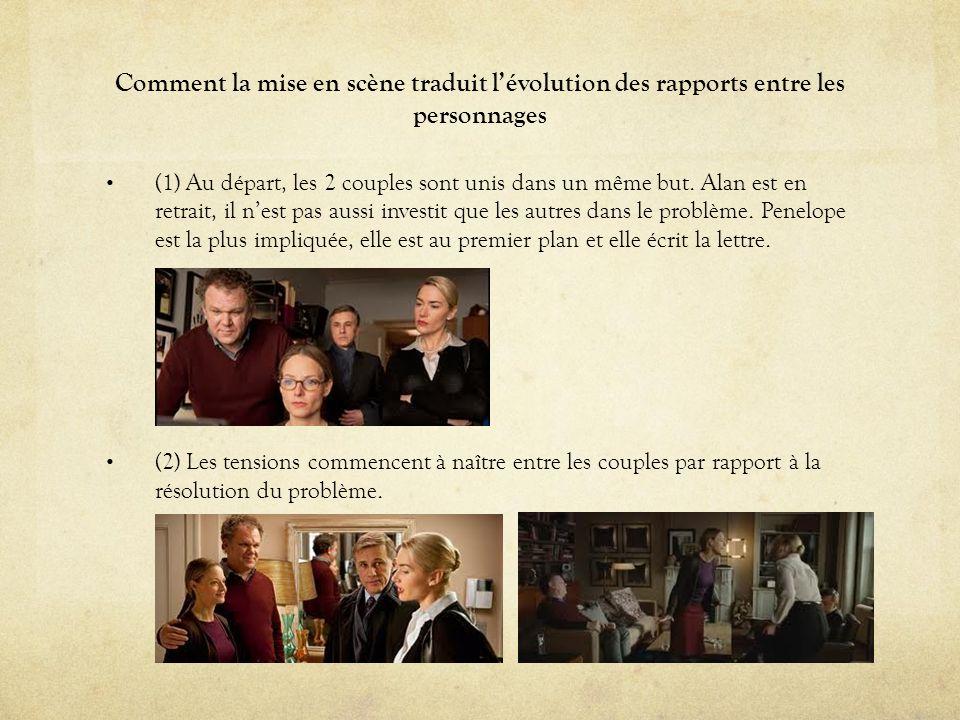 Comment la mise en scène traduit lévolution des rapports entre les personnages (1) Au départ, les 2 couples sont unis dans un même but. Alan est en re
