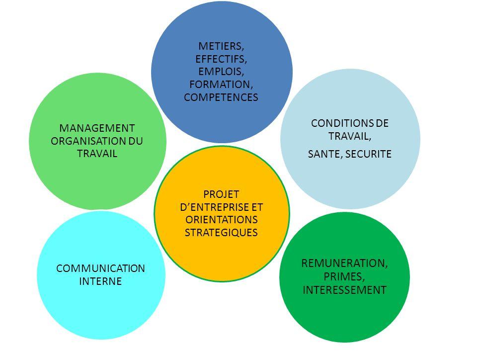 MANAGEMENT ORGANISATION DU TRAVAIL CONDITIONS DE TRAVAIL, SANTE, SECURITE PROJET DENTREPRISE ET ORIENTATIONS STRATEGIQUES REMUNERATION, PRIMES, INTERE