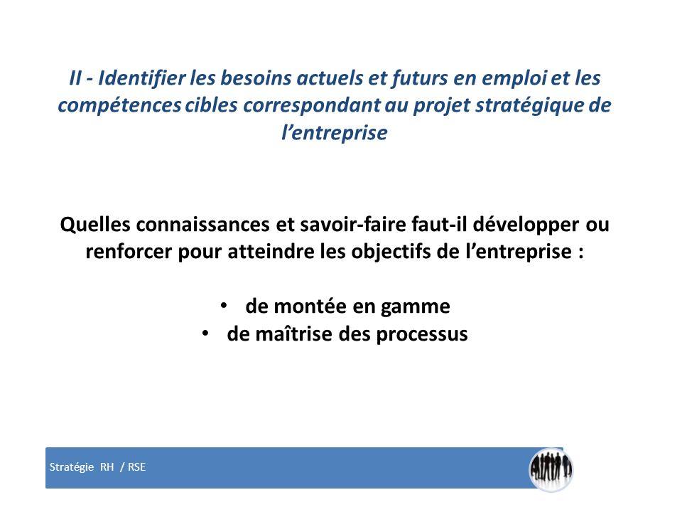Stratégie RH / RSE II - Identifier les besoins actuels et futurs en emploi et les compétences cibles correspondant au projet stratégique de lentrepris