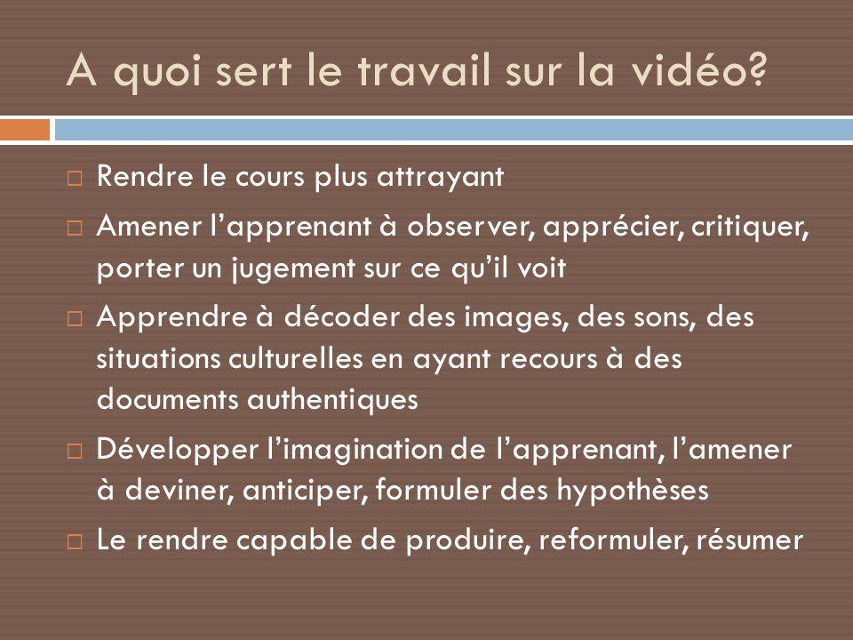 A quoi sert le travail sur la vidéo? Rendre le cours plus attrayant Amener lapprenant à observer, apprécier, critiquer, porter un jugement sur ce quil