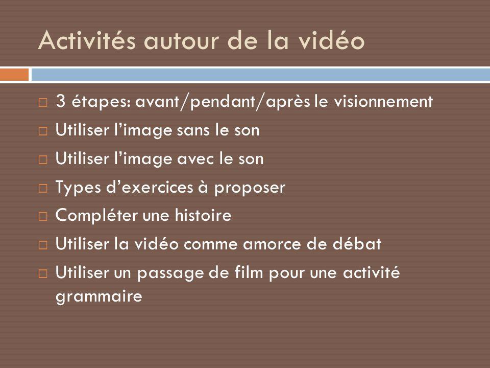 Activités autour de la vidéo 3 étapes: avant/pendant/après le visionnement Utiliser limage sans le son Utiliser limage avec le son Types dexercices à