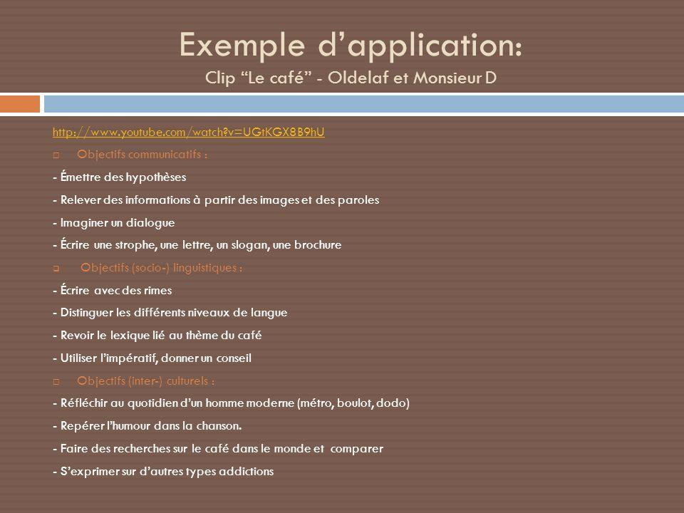 Exemple dapplication: Clip Le café - Oldelaf et Monsieur D http://www.youtube.com/watch?v=UGtKGX8B9hU Objectifs communicatifs : - Émettre des hypothès