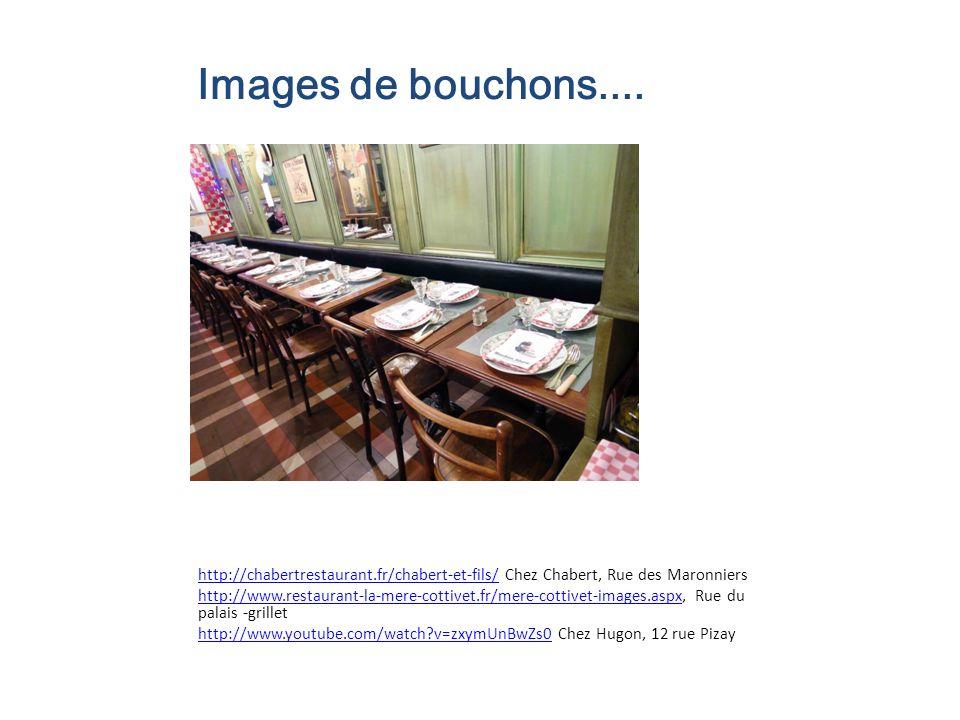 Images de bouchons.... http://chabertrestaurant.fr/chabert-et-fils/http://chabertrestaurant.fr/chabert-et-fils/ Chez Chabert, Rue des Maronniers http: