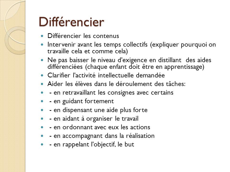 Différencier Différencier les contenus Intervenir avant les temps collectifs (expliquer pourquoi on travaille cela et comme cela) Ne pas baisser le ni