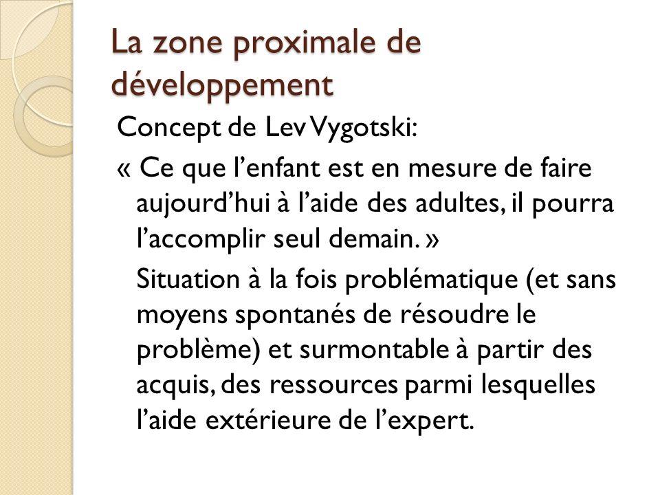 La zone proximale de développement Concept de Lev Vygotski: « Ce que lenfant est en mesure de faire aujourdhui à laide des adultes, il pourra laccompl