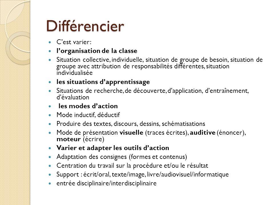 Différencier Cest varier: lorganisation de la classe Situation collective, individuelle, situation de groupe de besoin, situation de groupe avec attri
