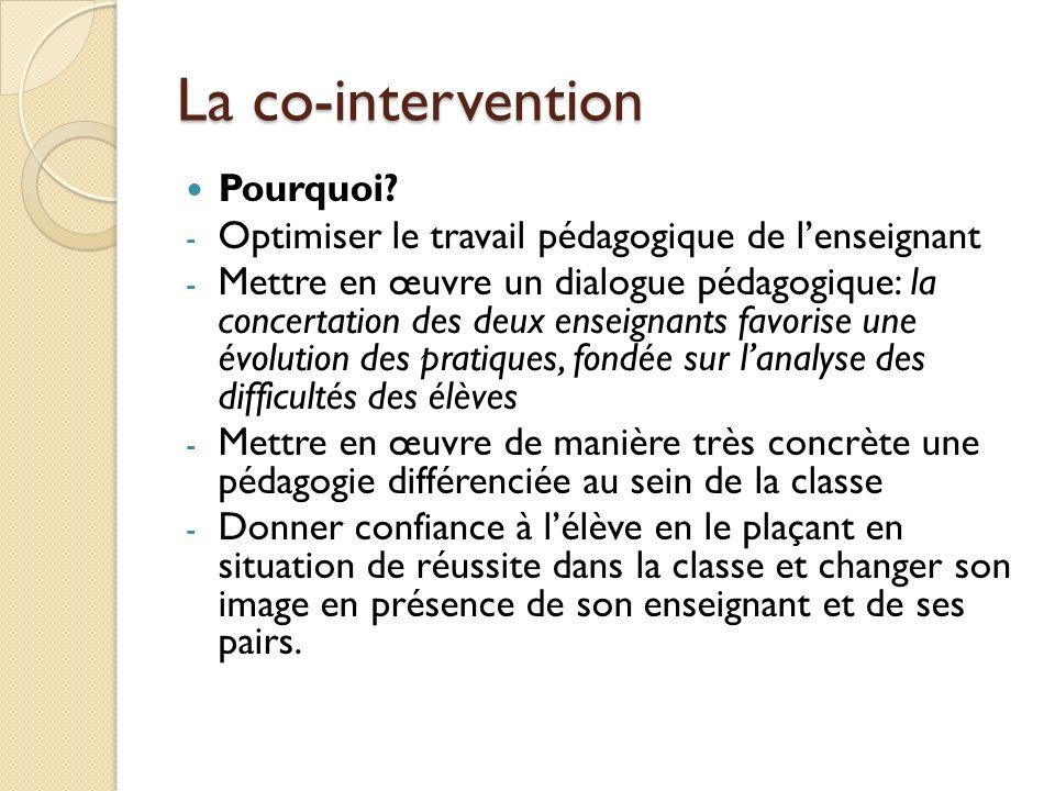 La co-intervention Pourquoi? - Optimiser le travail pédagogique de lenseignant - Mettre en œuvre un dialogue pédagogique: la concertation des deux ens