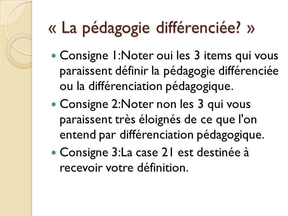 « La pédagogie différenciée? » Consigne 1:Noter oui les 3 items qui vous paraissent définir la pédagogie différenciée ou la différenciation pédagogiqu