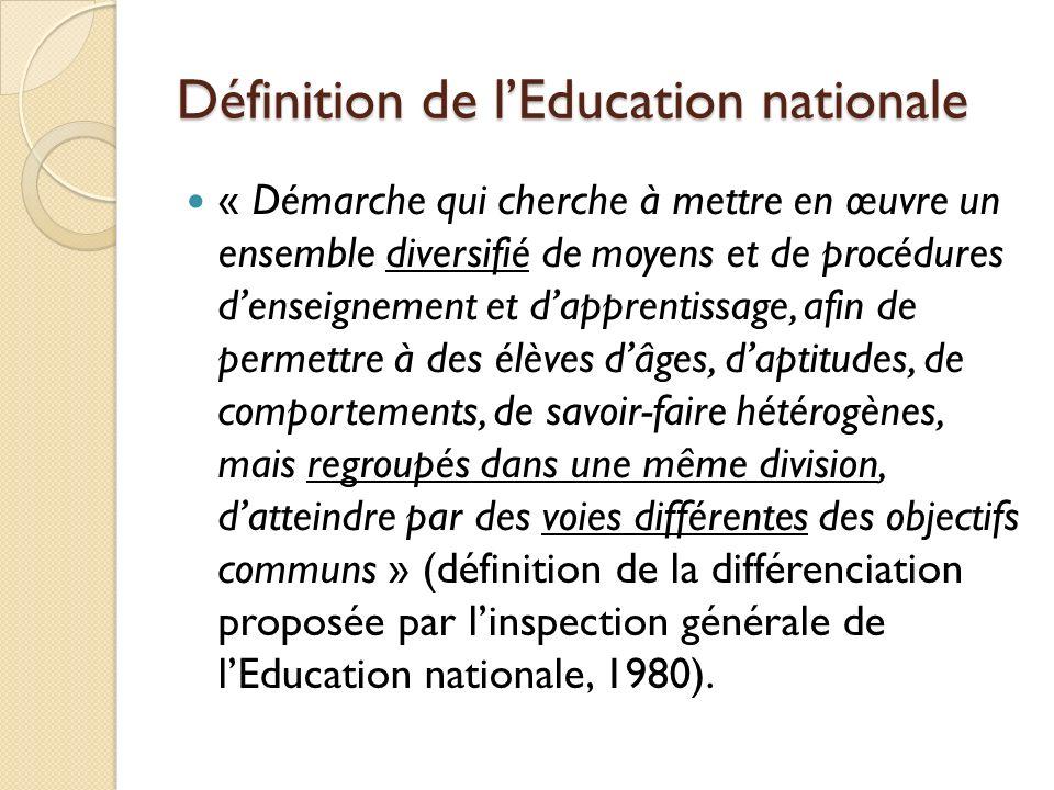 Définition de lEducation nationale « Démarche qui cherche à mettre en œuvre un ensemble diversifié de moyens et de procédures denseignement et dappren