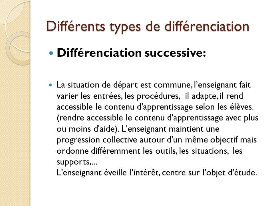 Différents types de différenciation Différenciation successive: La situation de départ est commune, lenseignant fait varier les entrées, les procédure