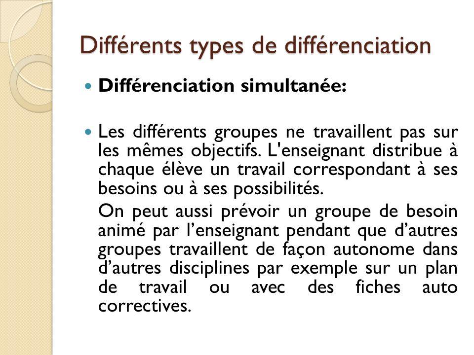 Différents types de différenciation Différenciation simultanée: Les différents groupes ne travaillent pas sur les mêmes objectifs. L'enseignant distri