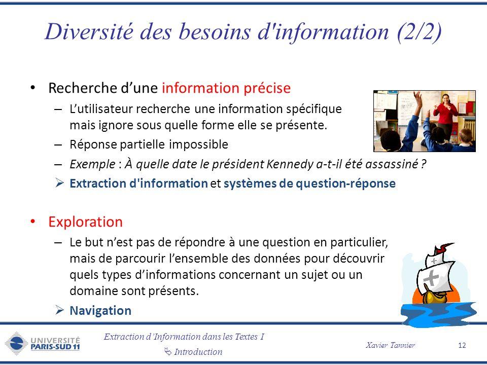 Extraction dInformation dans les Textes I Introduction Xavier Tannier Diversité des besoins d'information (2/2) Recherche dune information précise – L