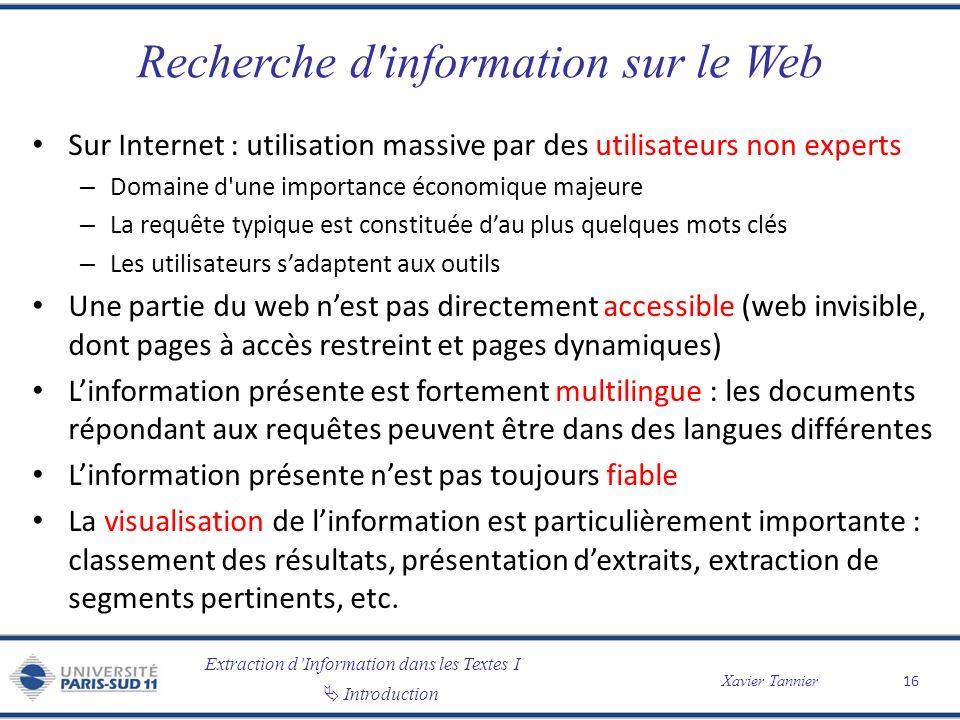 Extraction dInformation dans les Textes I Introduction Xavier Tannier Recherche d'information sur le Web Sur Internet : utilisation massive par des ut