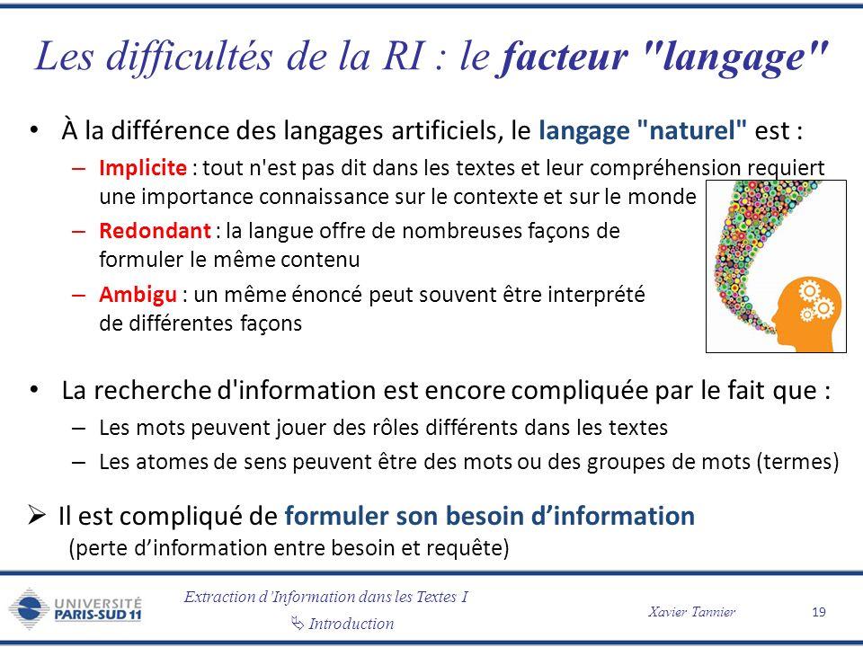 Extraction dInformation dans les Textes I Introduction Xavier Tannier Les difficultés de la RI : le facteur