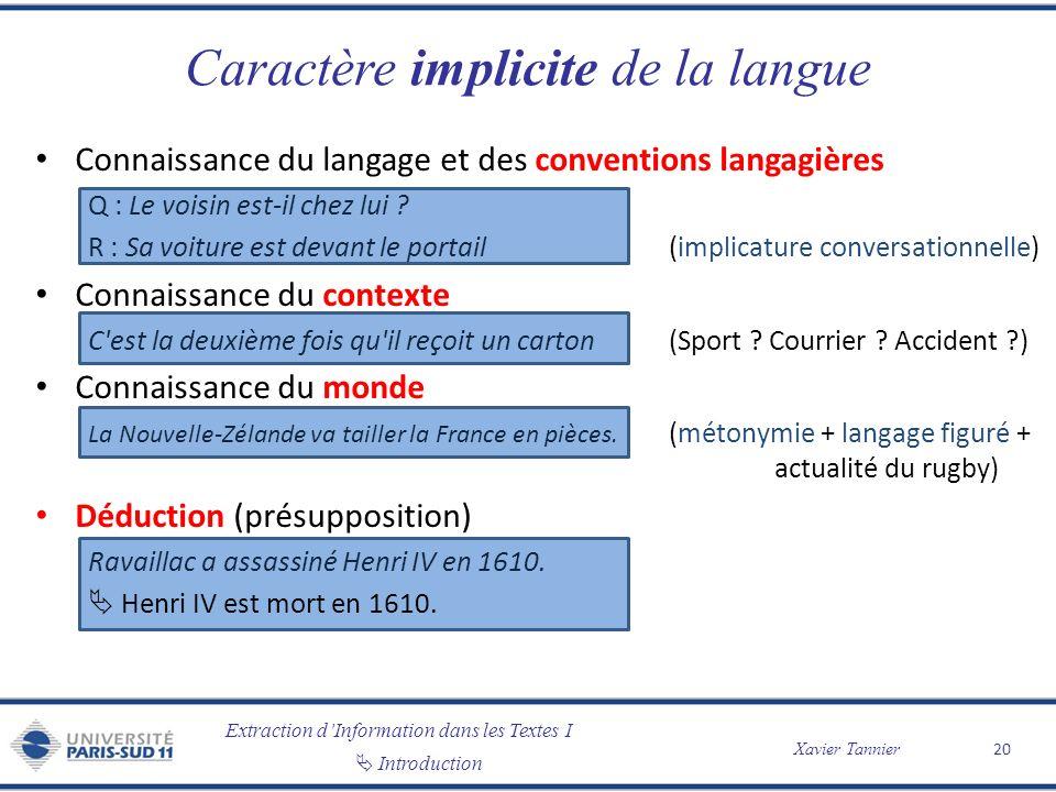 Extraction dInformation dans les Textes I Introduction Xavier Tannier Caractère implicite de la langue Connaissance du langage et des conventions lang