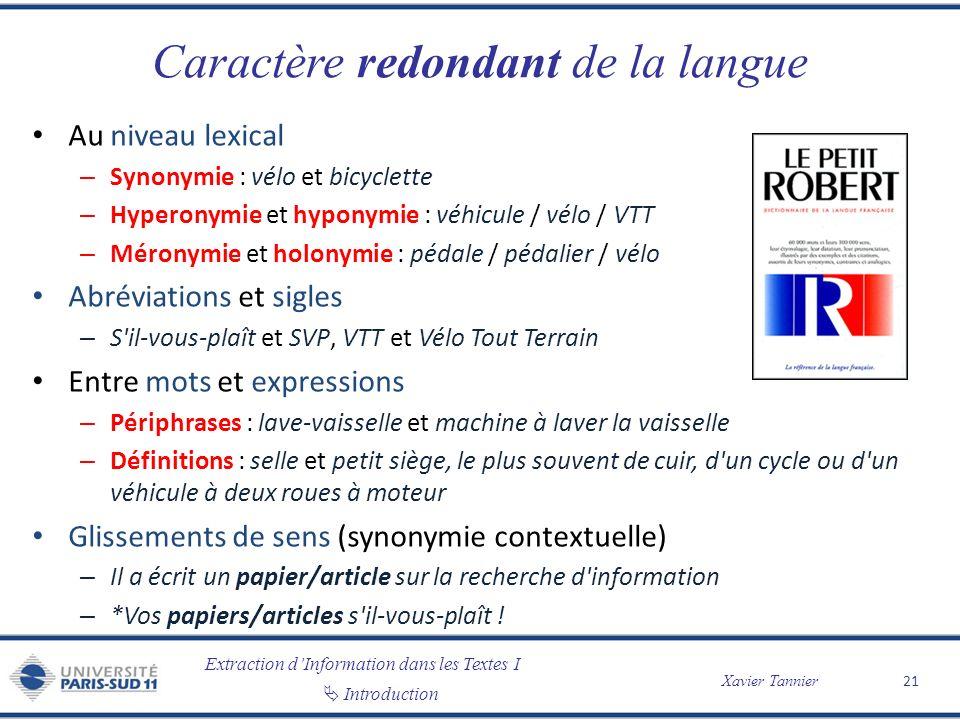 Extraction dInformation dans les Textes I Introduction Xavier Tannier Caractère redondant de la langue Au niveau lexical – Synonymie : vélo et bicycle