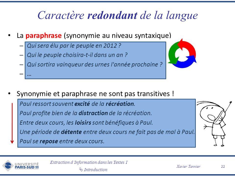Extraction dInformation dans les Textes I Introduction Xavier Tannier Caractère redondant de la langue La paraphrase (synonymie au niveau syntaxique)