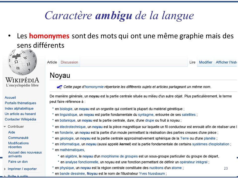 Extraction dInformation dans les Textes I Xavier Tannier Introduction Caractère ambigu de la langue 23 Les homonymes sont des mots qui ont une même gr