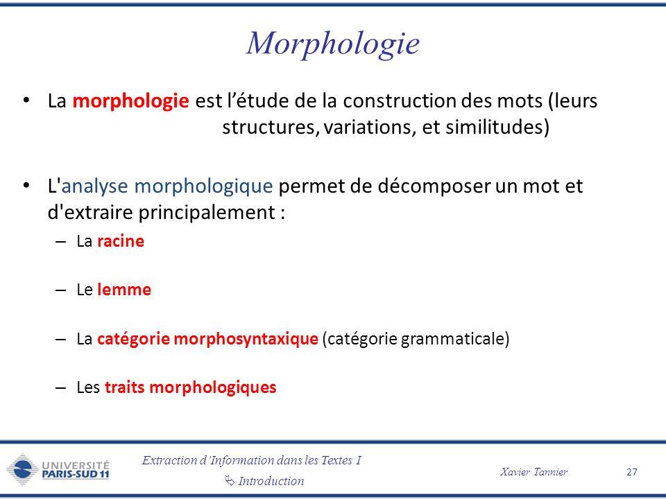 Extraction dInformation dans les Textes I Introduction Xavier Tannier Morphologie La morphologie est létude de la construction des mots (leurs structu