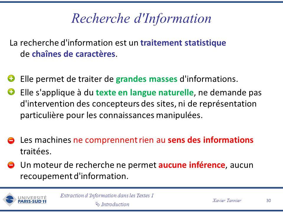 Extraction dInformation dans les Textes I Introduction Xavier Tannier Recherche d'Information La recherche d'information est un traitement statistique