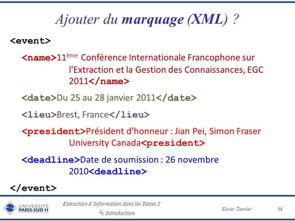 Extraction dInformation dans les Textes I Introduction Xavier Tannier Ajouter du marquage (XML) ? 11 ème Conférence Internationale Francophone sur l'E