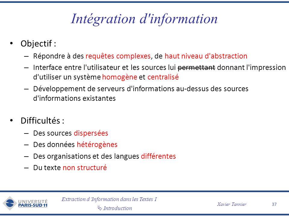 Extraction dInformation dans les Textes I Introduction Xavier Tannier Intégration d'information Objectif : – Répondre à des requêtes complexes, de hau