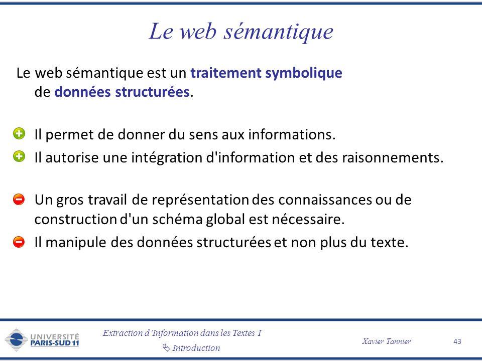 Extraction dInformation dans les Textes I Introduction Xavier Tannier Le web sémantique Le web sémantique est un traitement symbolique de données stru