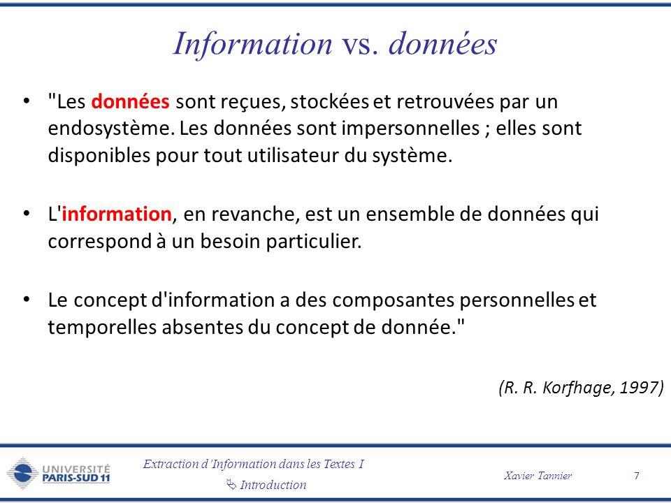 Extraction dInformation dans les Textes I Introduction Xavier Tannier Information vs. données