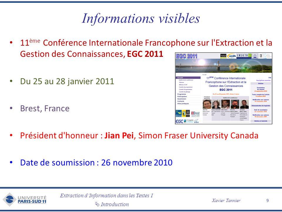 Extraction dInformation dans les Textes I Introduction Xavier Tannier Informations visibles 11 ème Conférence Internationale Francophone sur l'Extract