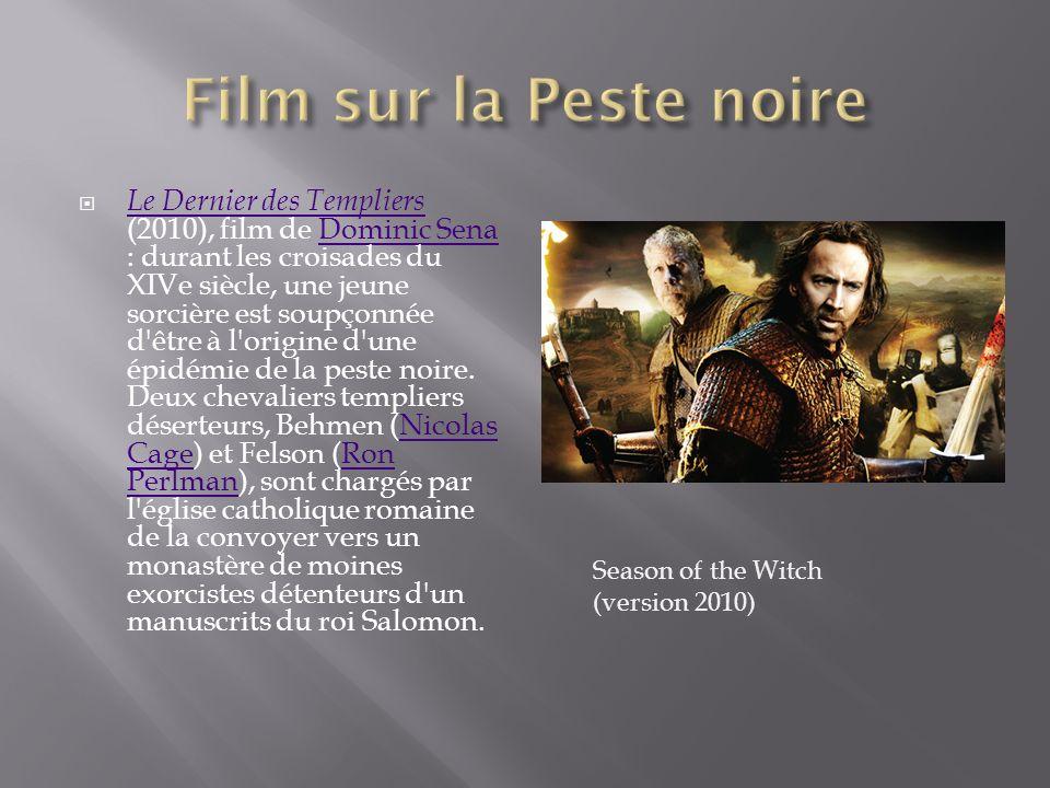 Le Dernier des Templiers (2010), film de Dominic Sena : durant les croisades du XIVe siècle, une jeune sorcière est soupçonnée d'être à l'origine d'un