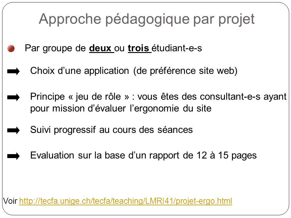 Par groupe de deux ou trois étudiant-e-s Approche pédagogique par projet Choix dune application (de préférence site web) Principe « jeu de rôle » : vous êtes des consultant-e-s ayant pour mission dévaluer lergonomie du site Suivi progressif au cours des séances Evaluation sur la base dun rapport de 12 à 15 pages Voir http://tecfa.unige.ch/tecfa/teaching/LMRI41/projet-ergo.htmlhttp://tecfa.unige.ch/tecfa/teaching/LMRI41/projet-ergo.html