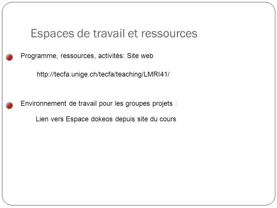 Espaces de travail et ressources http://tecfa.unige.ch/tecfa/teaching/LMRI41/ Programme, ressources, activités: Site web Lien vers Espace dokeos depuis site du cours Environnement de travail pour les groupes projets :
