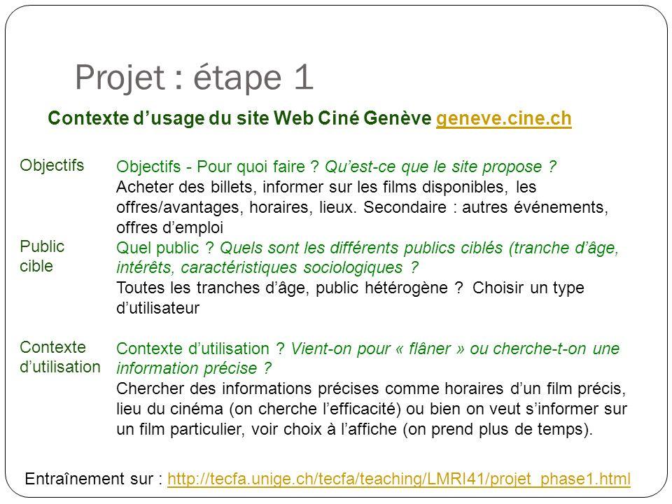 Projet : étape 1 Contexte dusage du site Web Ciné Genève geneve.cine.chgeneve.cine.ch Objectifs - Pour quoi faire .
