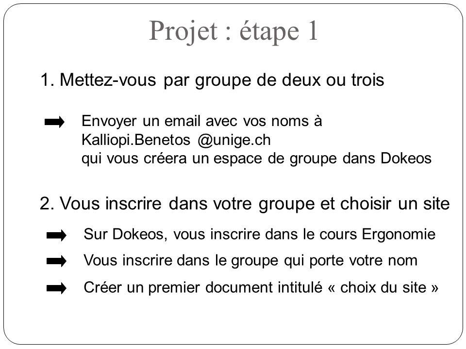 1. Mettez-vous par groupe de deux ou trois Projet : étape 1 Envoyer un email avec vos noms à Kalliopi.Benetos @unige.ch qui vous créera un espace de g