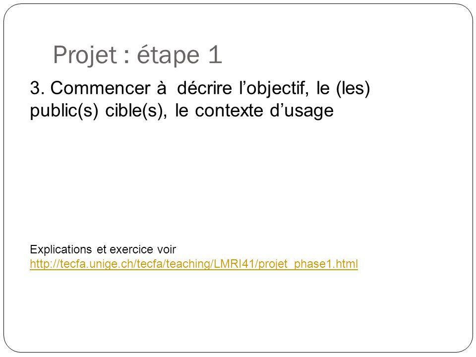 Projet : étape 1 Explications et exercice voir http://tecfa.unige.ch/tecfa/teaching/LMRI41/projet_phase1.html http://tecfa.unige.ch/tecfa/teaching/LMRI41/projet_phase1.html 3.