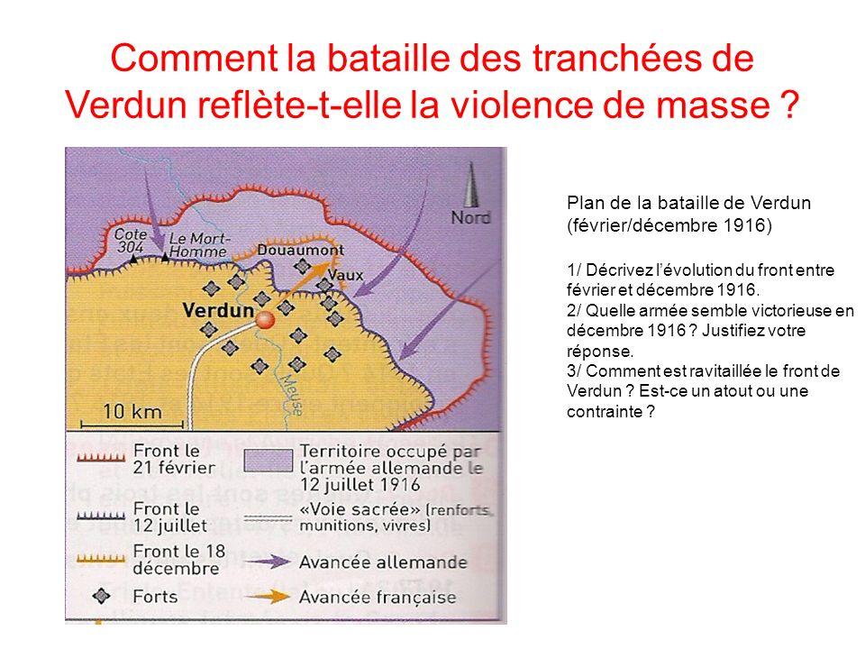Comment la bataille des tranchées de Verdun reflète-t-elle la violence de masse ? Plan de la bataille de Verdun (février/décembre 1916) 1/ Décrivez lé