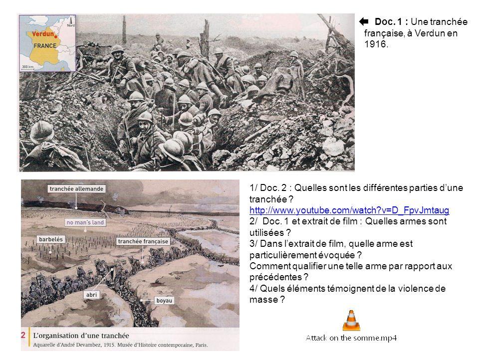 1/ Doc. 2 : Quelles sont les différentes parties dune tranchée ? http://www.youtube.com/watch?v=D_FpvJmtaug 2/ Doc. 1 et extrait de film : Quelles arm