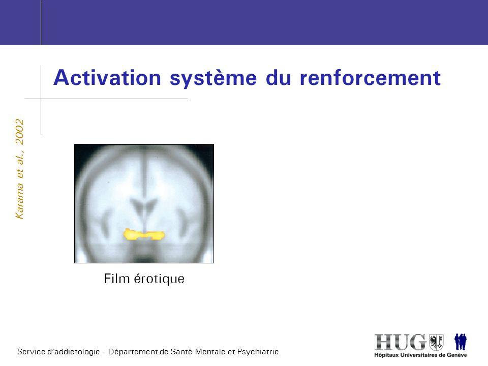 Service daddictologie - Département de Santé Mentale et Psychiatrie Activation système du renforcement Karama et al., 2002 Film érotique