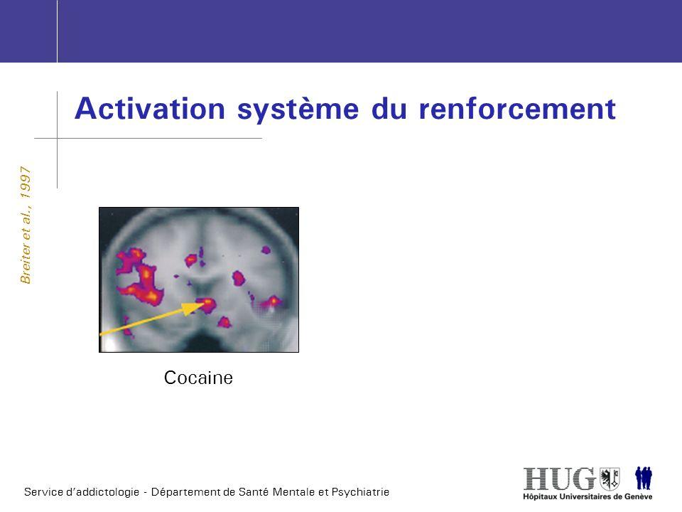 Service daddictologie - Département de Santé Mentale et Psychiatrie Activation système du renforcement Cocaine Breiter et al., 1997