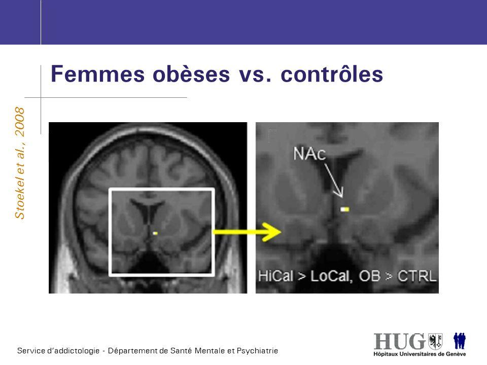 Service daddictologie - Département de Santé Mentale et Psychiatrie Femmes obèses vs. contrôles Stoekel et al., 2008