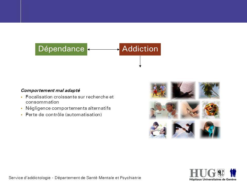 Service daddictologie - Département de Santé Mentale et Psychiatrie DépendanceAddiction Comportement mal adapté Focalisation croissante sur recherche