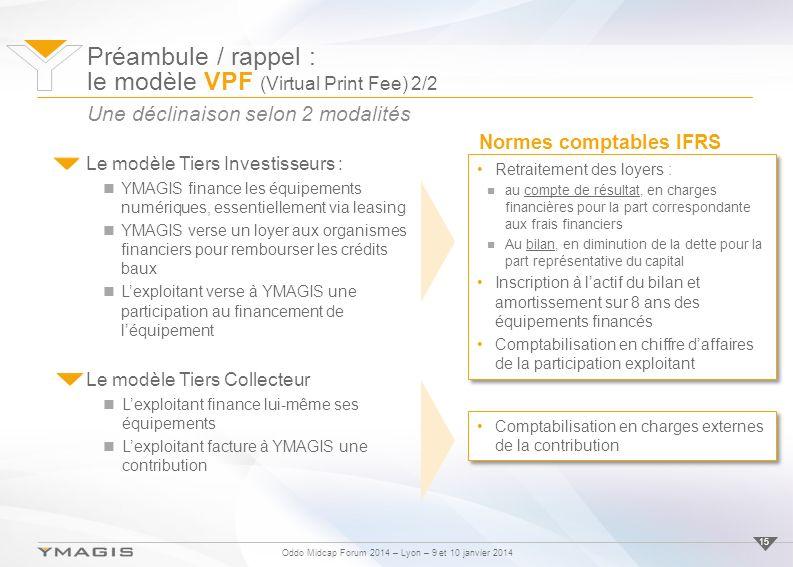 Oddo Midcap Forum 2014 – Lyon – 9 et 10 janvier 2014 15 Le modèle Tiers Investisseurs : YMAGIS finance les équipements numériques, essentiellement via leasing YMAGIS verse un loyer aux organismes financiers pour rembourser les crédits baux Lexploitant verse à YMAGIS une participation au financement de léquipement Une déclinaison selon 2 modalités Préambule / rappel : le modèle VPF (Virtual Print Fee) 2/2 Normes comptables IFRS Retraitement des loyers : au compte de résultat, en charges financières pour la part correspondante aux frais financiers Au bilan, en diminution de la dette pour la part représentative du capital Inscription à lactif du bilan et amortissement sur 8 ans des équipements financés Comptabilisation en chiffre daffaires de la participation exploitant Retraitement des loyers : au compte de résultat, en charges financières pour la part correspondante aux frais financiers Au bilan, en diminution de la dette pour la part représentative du capital Inscription à lactif du bilan et amortissement sur 8 ans des équipements financés Comptabilisation en chiffre daffaires de la participation exploitant Comptabilisation en charges externes de la contribution Le modèle Tiers Collecteur Lexploitant finance lui-même ses équipements Lexploitant facture à YMAGIS une contribution