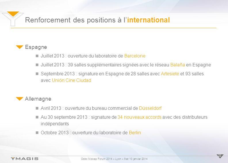 Oddo Midcap Forum 2014 – Lyon – 9 et 10 janvier 2014 Renforcement des positions à linternational 22 Espagne Juillet 2013 : ouverture du laboratoire de
