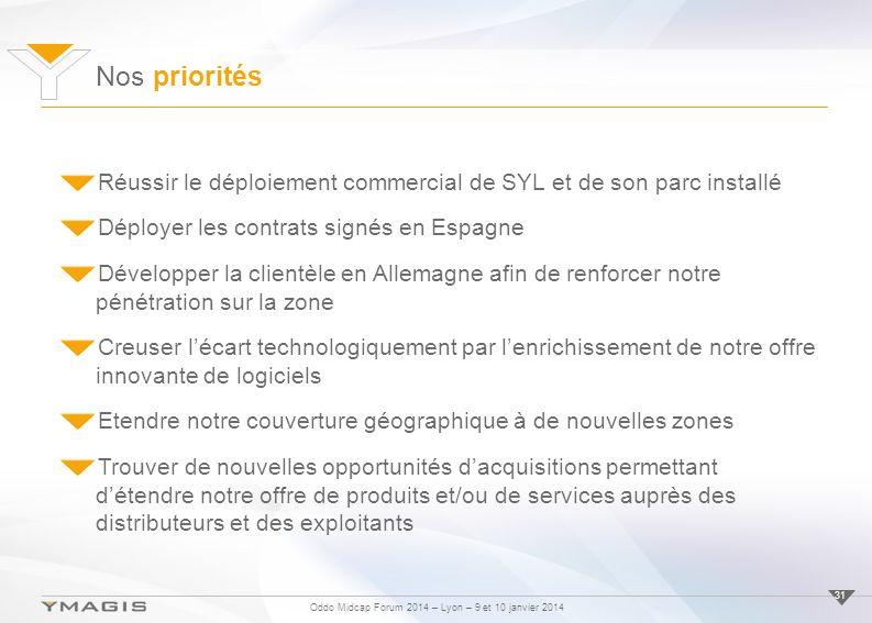 Oddo Midcap Forum 2014 – Lyon – 9 et 10 janvier 2014 Nos priorités 31 Réussir le déploiement commercial de SYL et de son parc installé Déployer les co