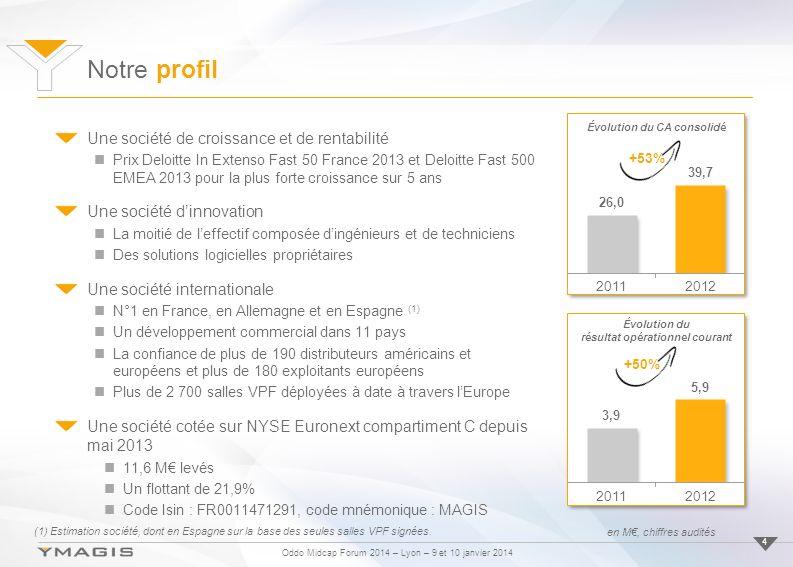 Oddo Midcap Forum 2014 – Lyon – 9 et 10 janvier 2014 Notre profil 4 Une société de croissance et de rentabilité Prix Deloitte In Extenso Fast 50 Franc