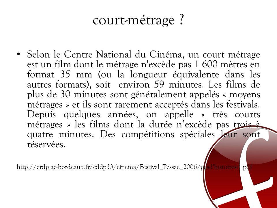 court-métrage ? Selon le Centre National du Cinéma, un court métrage est un film dont le métrage n'excède pas 1 600 mètres en format 35 mm (ou la long