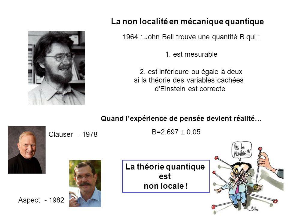 La non localité en mécanique quantique 1964 : John Bell trouve une quantité B qui : 1. est mesurable 2. est inférieure ou égale à deux si la théorie d