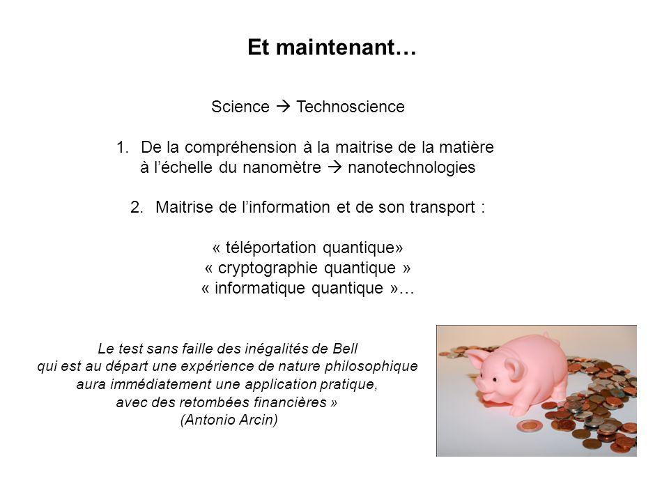 Et maintenant… Science Technoscience 1.De la compréhension à la maitrise de la matière à léchelle du nanomètre nanotechnologies 2.Maitrise de linforma