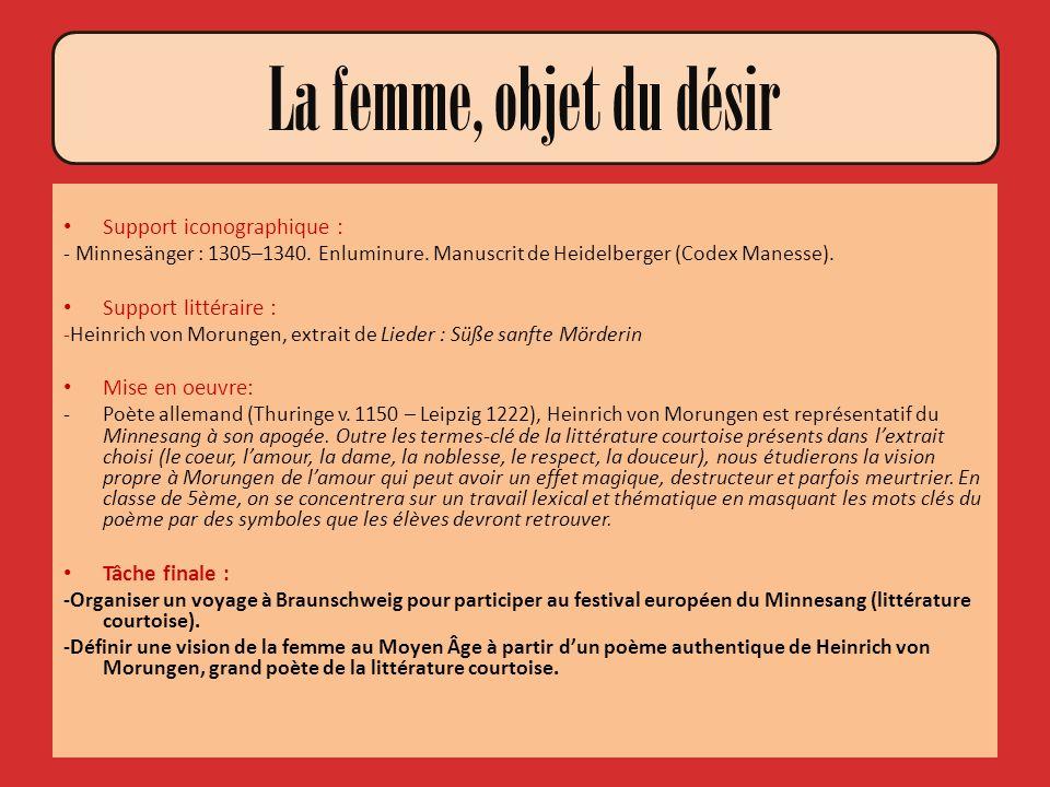 Support iconographique : - Minnesänger : 1305–1340. Enluminure. Manuscrit de Heidelberger (Codex Manesse). Support littéraire : -Heinrich von Morungen
